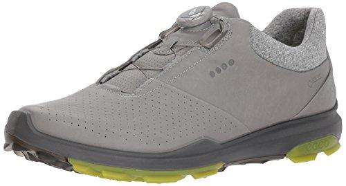 footjoy boa Ecco Golf 2018 Biom Hybrid 3 Boa Gore-Tex Waterproof Yak Leather Mens Golf Shoes [Wild Dove/Kiwi, EU 43= 8.5-9UK]