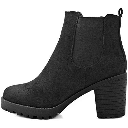 FLY 4 Chelsea Boots Plateau Stiefeletten in vielen Farben und Mustern (37, Schwarz Samt)