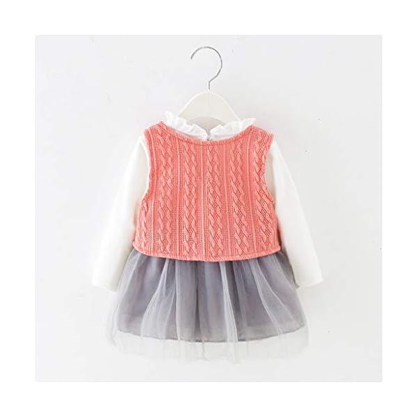 Heetey - Conjunto de Ropa y Abrigo para niña, con Volantes, Manga Larga, Vestido de Princesa + Chaqueta, Lazo, suéter… 3