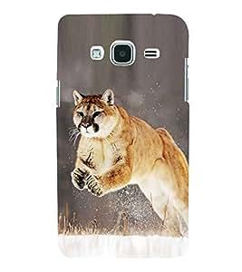 Fuson Designer Back Case Cover for Samsung Galaxy J3 Pro :: Samsung Galaxy J3 (2017) (Cat jumping cat Grass Snow black)