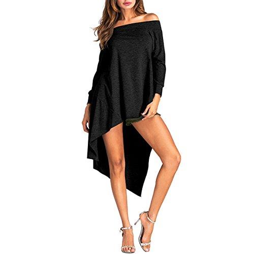YSTWLKJ Damen Schulterfrei Tunika Blusenshirt Langarmshirt Asymmetrisch Lang Hemd Sweater Shirt Oberteil