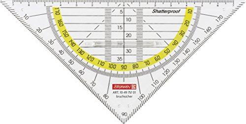 Brunnen 104975701 Geometrie-Dreieck / Geodreieck (für Schule und Büro 16 cm, mit Griff, bruchsicher, glasklar)