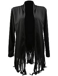 Phenovo Phenovo Women's Long Sleeve Tassel Shawl Cardigan Tops Coat M Black