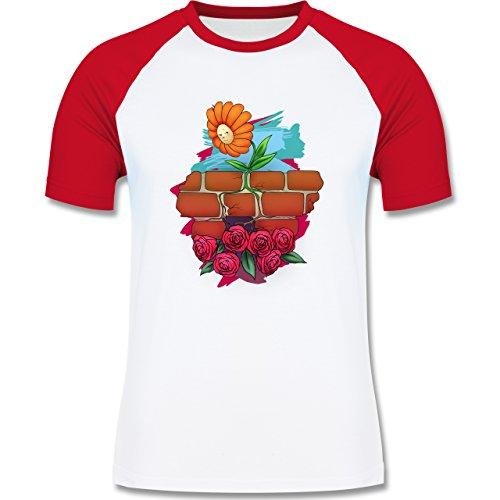 Statement Shirts - Mauerblümchen - zweifarbiges Baseballshirt für Männer Weiß/Rot