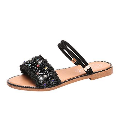 5bbf899abb4e Summer Women Beach Shoes Casual Open Toe Slippers Seaside Flat Rhinestone  Sandal Moda Sandali Donne Pantofole
