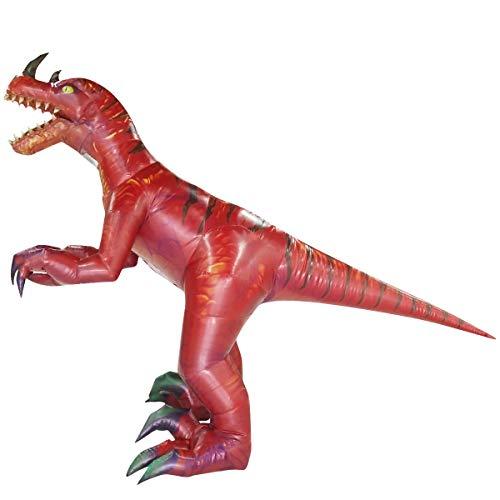 Happy Island Aufblasbares Tyrannosaurus-Kostüm Velociraptor Dinosaurier Erwachsene Halloween Rollenspiel-Spiel Verkleidung Cosplay Kleidung - rot - ()