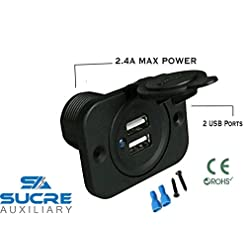 Doppia porta USB, ad alta potenza da 12 V/24 V, con presa per accendisigari di moto, barche e auto