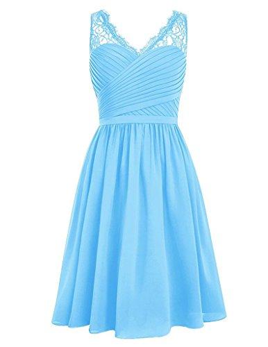 JAEDEN Damen Kurz Jugendlich V-Ausschnitt Brautjungfernkleider Chiffon Spitze Party Kleider Blau