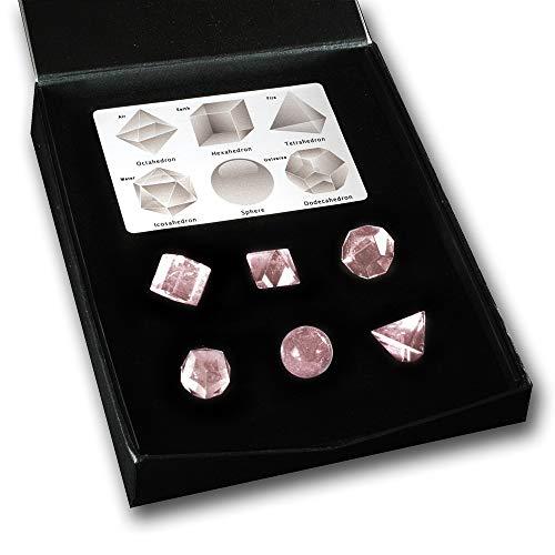 Cuarzo Rosa Juego de 6Piezas de Cristal de sólidos platónicos