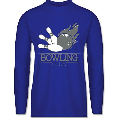 Shirtracer Bowling & Kegeln - Bowling Club Ball Flamme - Herren Langarmshirt Royalblau
