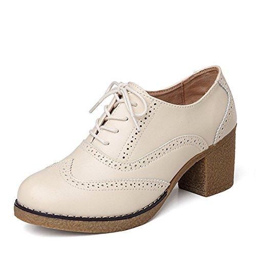 Chaussures talons chunky printemps/Yinglunbuluoke chaussures femme/Chaussures de haut talon en cuir/Semelle épaisse casual chaussures femme B