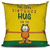 OddClick Girlfriend, Boyfriend, Husband, Wife, Couples, Love Birds On Valentines Day, Birthday, Celebrations One Long Distance Hug for You Cushion Cover with Filler 12x12Inch