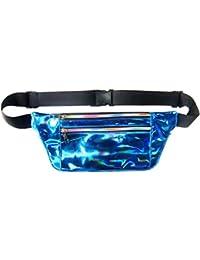 Women Men Shiny Metallic Wasit Bag Fashion Reflective Chest Bag Laser Waterproof PU Pack Bum Bag For Outdoor Beach...