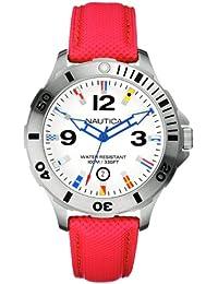 Nautica A12567G - Reloj analógico de cuarzo para hombre, correa de cuero color rojo