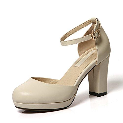 Trend di asakuchi scarpe/Tacchi alti delle donne/Rotonda testa fibbia grosso tacchi scarpe/ moda donna scarpe piattaforma A