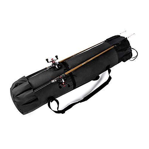 Yakun Angelruten-Koffer, große Angelruten und Rollen-Organizer, tragbare Reisetasche, strapazierfähig, faltbar, Angelausrüstung und Rutenhalter für Rutenaufbewahrung, schwarz, Medium -