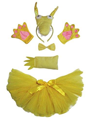 Petitebelle Dragon Costume Headband Bowtie Tail Gloves Yellow Tutu Set for Lady (One Size)