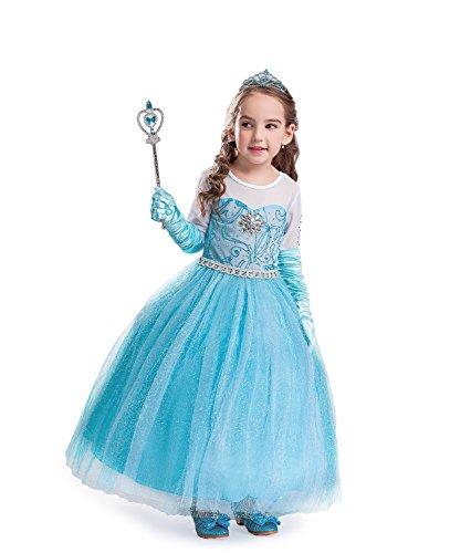 (ELSA & ANNA® Mädchen Prinzessin Kleid Paket Verrücktes Kleid Set Partei Kostüm Set - Paket Beinhaltet Kleid Handschuhe Krone Zauberstab - DE-SETE3 (SETE3, 2-3 Jahre))