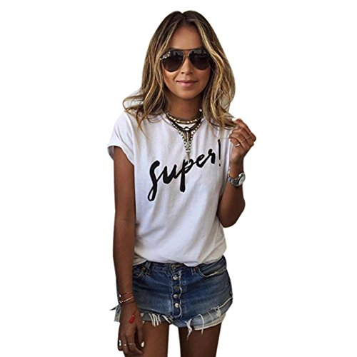 Ba Zha HEI New Mode Frauen Brief Bluse T-Shirt Kurzarm lose Modisch Damen T-Shirt Rundhals Kurzarm Ladies Sommer Oberteil Locker Bluse Sommer Weiß Schwarz Oberteile Mode Tops (Weiß, L)