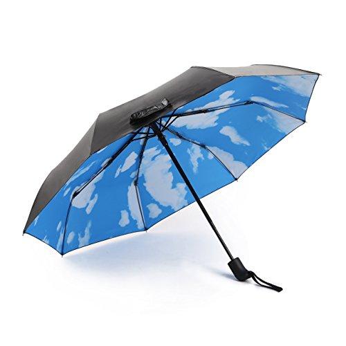 Automatische Folding Regenschirm Reise Compact faltbare Sonnenschirm Auto Öffnen Schließen für Herren und Damen, Inner Blue Sky Outer Schwarz