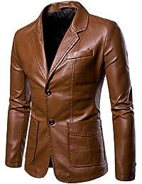 Yonglan Hombres PU Traje Chaqueta Tamaño Grande Color Sólido Slim Fit Chaqueta De Cuero Blazer Amarillo terroso XL