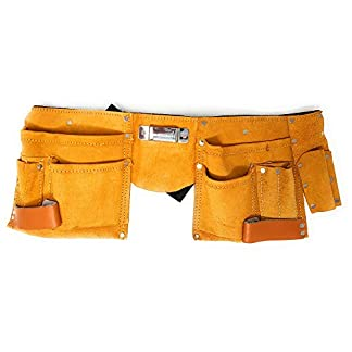 Herramientas de Piel con 11 Bolsillos Werkzeug-Gürtel (con Bolsillo, Bolsa Clavos, Soporte Martillo + Cinturón de Nylon)