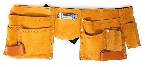 Werkzeuggürtel aus Leder mit 11 Taschen Werkzeug-Gürtel (mit Messertasche, Nageltasche, Hammerhalter + Gürtel aus Nylon) - Tasche Wildleder Leder Nagel