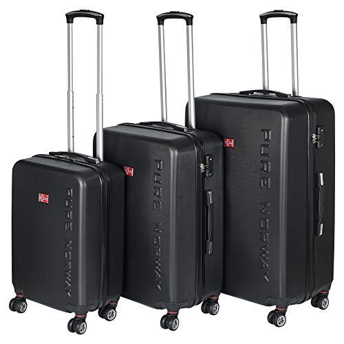 3-teiliges schwarzes Hartschalenkoffer-Gepäck-Set mit 71 cm verstellbaren Teleskopgriffen, 360 Grad Doppelrollen und TSA-Zahlenschlössern - 2 Optionen erhältlich Pure Norway XL