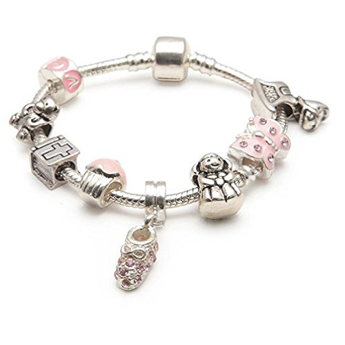 Liberty Charms Girls 'Little Angel' Baby-Tauf-Andenken versilbert Charm Armband. Mit Geschenkbox & Samtbeutel. Ideal Geschenk / Geschenk (Andere Größen erhältlich)