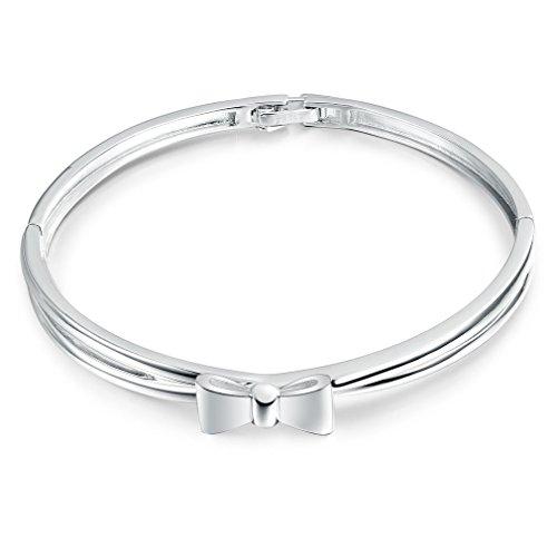 Semplice nodo a farfalla di torsione del braccialetto del polsino dell'oro bianco 18K per le donne ragazze 18.8cm
