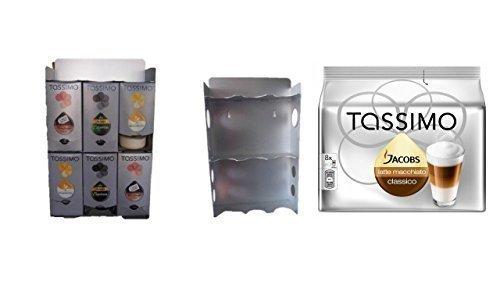 T-Disc Dispenser, Halter für 6 T-Disc Kartons von James Premium® + Aktion 1 Pack Tassimo Jacobs Krönung Caramel Macchiato zur Montage an der Wand geeignet und auch standfest da kein Plastik sondern ALU mit Ablagefach