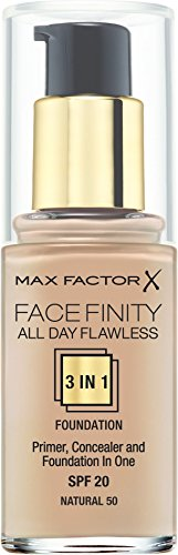 Max factor - All day flawless 3 in 1 foundation, base de maquillaje, 50 natural