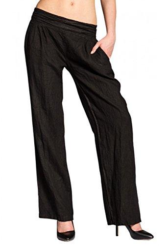 CASPAR KHS020 Damen Leinen Hose , Farbe:schwarz;Größe:42 XL UK14 US12