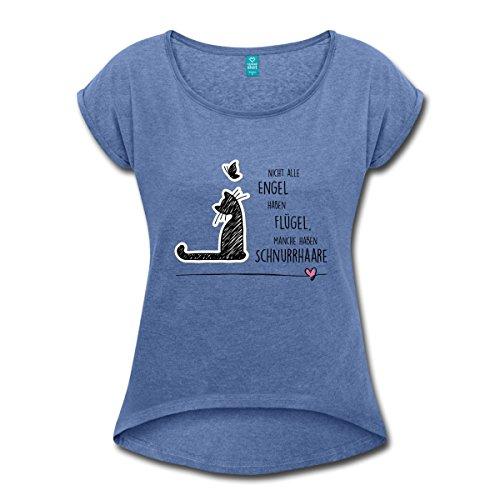 Spreadshirt Katzen Engel Schnurrhaare Schmetterling Frauen T-Shirt mit Gerollten Ärmeln, S, Denim Meliert (Shirt Denim Katze)