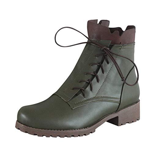 Serria® Martin-Stiefel für Damen Fashion Womens Flats Round Toe rutschfeste Freizeitschuhe mit niedrigen Absätzen Schnürstiefeletten