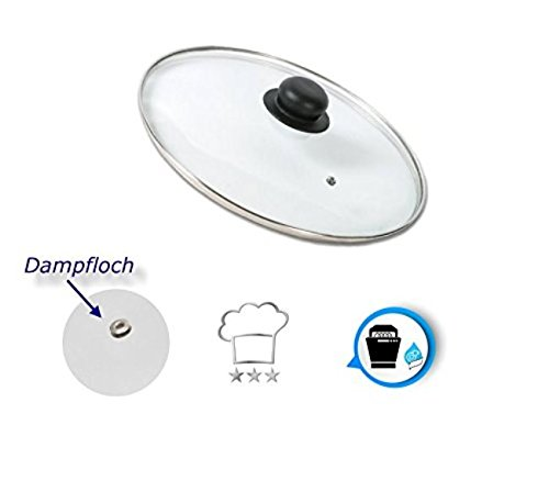 Kerafactum® - Topf Pfannen Deckel Topfdeckel Glasdeckel mit Kunststoffgriff, Edelstahlring und Entlüftungsloch in verschiedenen Größen (12) (12 Glas-topf Mit Deckel)