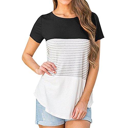 m Oberteile Damen Dreifach Farbe Block Streifen T-Shirt Casual Bluse (EU-44/CN-2XL, Schwarz) (Carhartt Braun Langarm-shirt)