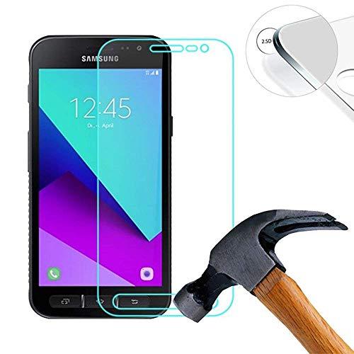 Lusee 2 X Pack Panzerglasfolie für Samsung Galaxy Xcover 4 SM-G390F / X Cover4 5.0 Zoll Tempered Glass Hartglas Schutzfolie Folie Displayschutz 9H (Nur den flachen Teil abdecken)