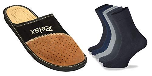 BeComfy Herren Lederhausschuhe | Hausschuhe mit 5 Socken | Paket Herren Hausschuhe mit Herren Socken | Schwarz Supermen Relax Prince King Dad (46 EU, Paket R (1x Hausschuhe + 5X Socken Mix))