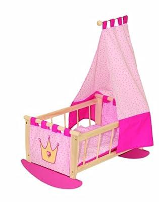 roba 98435 - Puppenwiege corona, de madera maciza sin tratar, con un lavable, de tejido tapizado frontal y posterior, incluyendo equipos textiles de roba