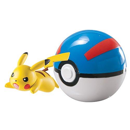 TOMY Pokebola para Cerrar y Llevar de Pokémon con Pikachu Bola Grande