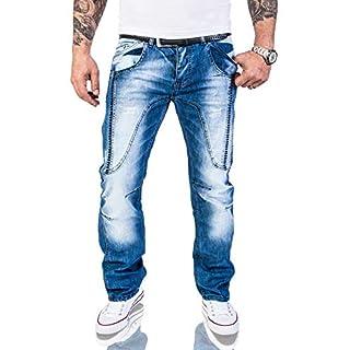 Rock Creek Herren Designer Jeans Hose Dicke Nähte Vintage Herrenjeans Stonewashed Comfort Fit Used Look gerades Bein RC-2011 Blau W40 L30