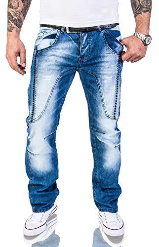 Comfort Fit Herren Jeans (Rock Creek Herren Designer Jeans Hose Dicke Nähte Vintage Herrenjeans Stonewashed Comfort Fit Used Look gerades Bein RC-2011 Blau W38 L30)