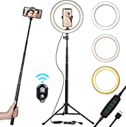 """10"""" Selfie Ring Light with Tripod Stand & Cell Phone Holder for Live Stream/Makeup 