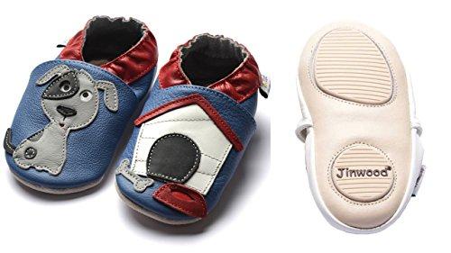 Jinwood designed by amsomo - Boys - Jungen - Hausschuhe - echt Leder Lederpuschen - Krabbelschuhe - soft sole / mini shoes div. Groeßen dog oceanblue mini shoes