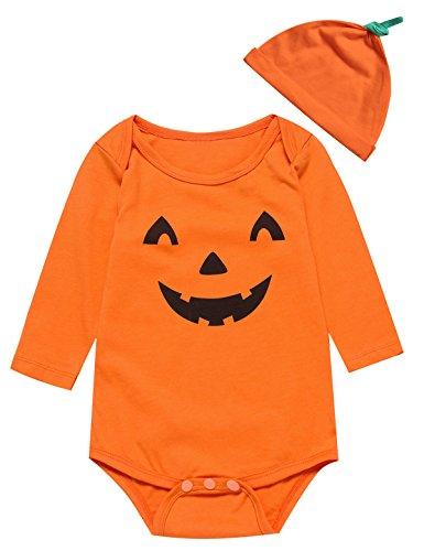 Baby Jungen Mädchen 3PCS Halloween Kostüm Kürbis Outfit Set Spielanzug (3-6 (T Niedlichen Kinder Halloween Shirts)