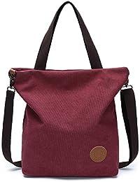 JANSBEN Damen Canvas Handtasche Schultertasche Casual Multifunktionale Umhängetaschen Groß für Arbeit Schule Shopper Lässige täglich