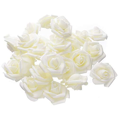 Warmiehomy Schaumrosen Schaumköpfe Künstliche Blume Brautstrauß 50 Stück DIY Foam rosen Ideal für Hochzeit, Partys, Zuhause, Garten, Büro Dekoration(Beige)