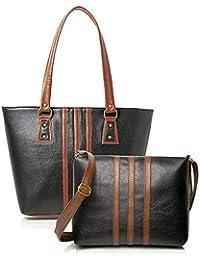 Mammon Women's Combo Of Handbag And Sling Bag (Hs-3Strip-blk, Multicolor)