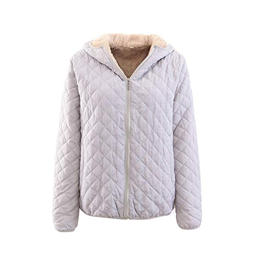 JURTEE Damen 2019 Jacken, Women's Regular Cotton Suit Plus Zipper Zipper Solid Color Warm Jacket(Small,Grau)